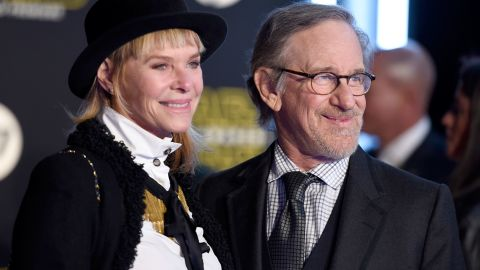 """Filmmaker Steven Spielberg and wife Kate Capshaw at the premiere. A longtime close friend of George Lucas, Spielberg was once rumored to be in the running to direct """"The Force Awakens."""""""