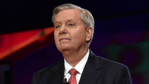 Republican presidential candidate Sen. Lindsey Graham is introduced during the CNN presidential debate at The Venetian Las Vegas on December 15, 2015.