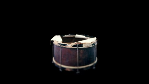 Also at the Omaha museum is this drum from the band of Dan Desdunes, a prominent black musician many decades ago.