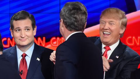 Republican presidential candidates (L-R) Ted Cruz, Jeb Bush and Donald Trump interact on stage at the end of the Republican Presidential Debate, hosted by CNN, at The Venetian Las Vegas on December 15, 2015 in Las Vegas, Nevada.