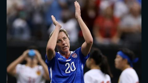 NEW ORLEANS, LA - DECEMBER 16:  Abby Wambach #20 of the United States reacts after walking off the field for the final time in her career during the women's soccer match against China at the Mercedes-Benz Superdome on December 16, 2015 in New Orleans, Louisiana.  (Photo by Chris Graythen/Getty Images)