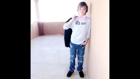 """Just call this boy, in a <a href=""""http://www.freetobekids.com/"""" target=""""_blank"""" target=""""_blank"""">Free to Be Kids</a> shirt, """"Mr. Nice Guy."""""""