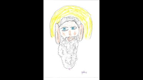 """Gabby, age 7, drew this photo of God, and said, """"God has giant ears so he can hear everything we are saying."""" Here are other children's impressions of God from the book <a href=""""http://www.amazon.com/OMG-How-Children-See-God/dp/0757318649"""" target=""""_blank"""" target=""""_blank"""">""""OMG! How Children See God.""""</a>"""