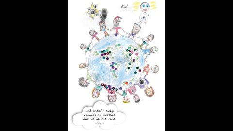"""Under her illustration, Kelly, age 9, wrote, """"God doesn't sleep because he watches over us all the time."""""""