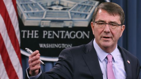 ARLINGTON, VA - MARCH 11:  U.S. Secretary of Defense Ash Carter answers reporters' questions during a news conference with the United Kingdom Secretary of State for Defense Michael Fallon at the Pentagon March 11, 2015 in Arlington, Virginia. Carter and Fallon held a bi-lateral meeting to discuss many topics, including the ongoing campaign against the Islamic State of Iraq and the Levant (ISIL) and their countries' continued work to help the Ukraine government forces improve their capabilities in intelligence, communications, logistics and first aid.  (Photo by Chip Somodevilla/Getty Images)