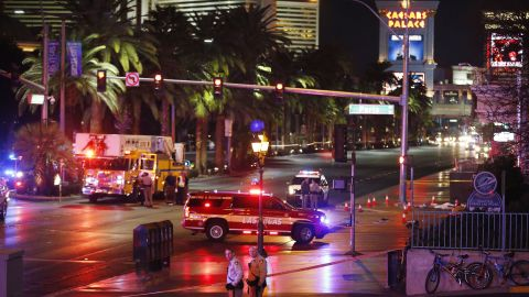 Police and emergency crews respond to the scene in Las Vegas on Sunday.