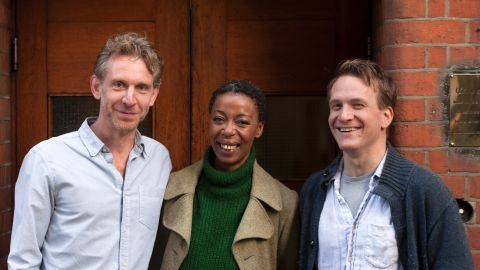 L-R Paul Thornley (Ron), Noma Dumezweni (Hermione) and Jamie Parker (Harry) at the Palace Theatre.