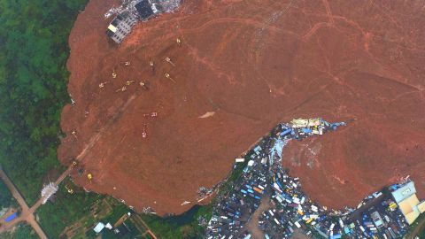 This aerial photo shows the site of the landslide that hit three industrial parks in Shenzhen in south China's Guangdong province on December 21, 2015.