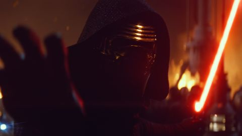 """<strong>Kylo Ren</strong> (Adam Driver), the movie's antagonist, wielding a distinctive red lightsaber with crossguard exhausts. Before """"Star Wars,"""" Driver was best known as Adam Sackler, Lena Dunham's hapless love interest, in the hit HBO series """"Girls."""" He also happens to be a former Marine."""
