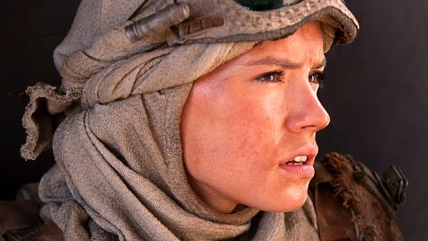 """<strong>Rey</strong> (Daisy Ridley), a young scavenger on the desert planet of Jakku. The role is Ridley's first film, after minor appearances in British TV dramas including """"Casualty"""" and """"Silent Witness."""" Not all her parts have been glamorous; in one, she played a corpse."""