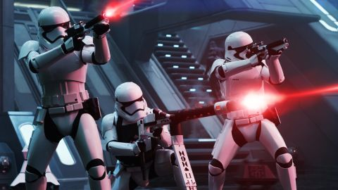 """<strong>First Order Troopers</strong>, with new weapons and armor design for the sequels. These days, the stormtroopers' weapons are custom-made (and include flamethrowers!), but in the original trilogy, they were crafted from real firearms by Roger Christian and the prop team.<br /><br /><a href=""""https://www.cnn.com/2015/12/15/entertainment/star-wars-millennium-falcon-roger-christian-feat/index.html"""" target=""""_blank""""><em>Read more: How we built the Millennium Falcon</em></a>"""