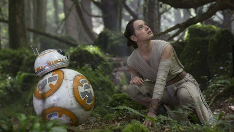 <strong>BB-8</strong>, an astromech droid, with Rey. Built from a concept by Abrams and brought to life by Neal Scanlan, Matt Denton and Josh Lee, he's a fan favorite. We can sense R2-D2's jealousy from here.