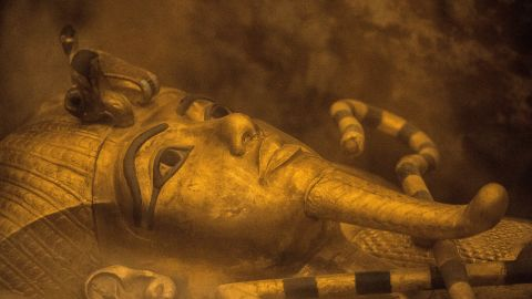 The sarcophagus of King Tutankhamun displayed in his burial chamber in in the Valley of the Kings.