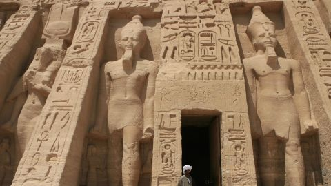 The temple of Abu Simbel, south of Aswan, near the Sudan border. The mighty monument was carved from rock in the 13th century B.C.