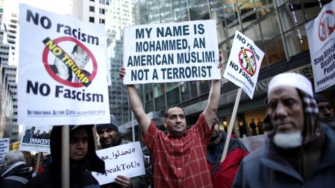 A group of Muslim-Americans rally in front of New York's Trump Tower on December 20 to protest Trump's proposal to ban Muslims.