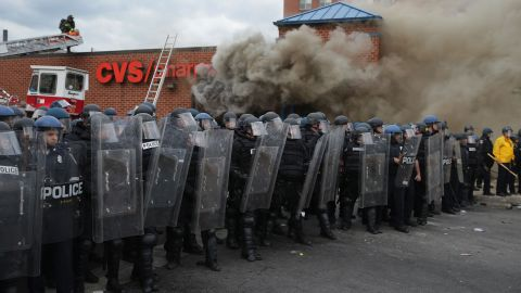 The death of Freddie Gray in Baltimore led to frustrations that splintered into violence; a CVS Pharmacy was looted and burned during protests after his funeral.