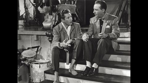 """Kaye, left, and Crosby's characters discuss a special Christmas Eve show in """"White Christmas."""""""