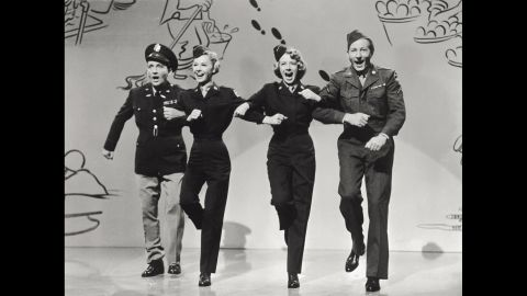 """From left, Crosby, Vera-Ellen, Clooney and  Kaye do a number in the movie """"White Christmas."""""""