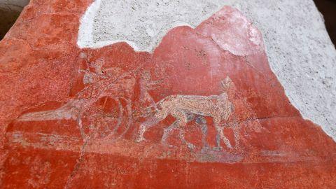 A detail of graffiti inside the Fullonica di Stephan's in Pompeii.