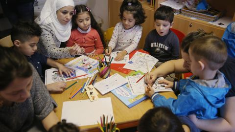 Children study in Berlin as part of Germany's Reading Start for Refugee Children initiative.