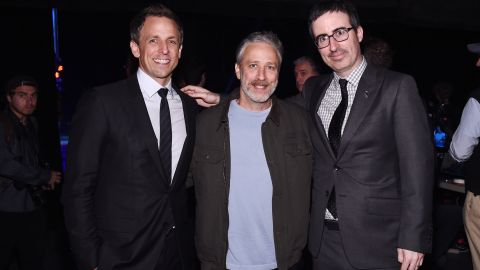 """Jon Stewart, center, is one of the most recognized faces in comedy, having hosted the popular satire show """"The Daily Show"""" on Comedy Central. His net worth is estimated to be about $80 million."""