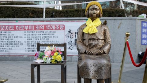 """The Japanese government requested South Korea remove this statue symbolizing """"comfort women"""" which currently sits in front of the Japanese Embassy in Seoul, South Korea."""