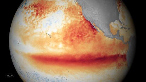 This satellite image shows sea surface temperatures in October 2015. Orange-red colors are above normal temperatures and are indicative of El Niño.
