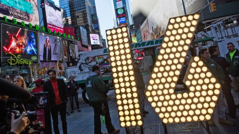 """NEW YORK, NY - DECEMBER 15:  The numerals """"1"""" and """"6,"""" to be used to spell out """"2-0-1-6"""" during the Times Square New Years Eve celebration, are unveiled in Times Square on December 15, 2015 in New York City. The """"2-0-1-6"""" are powered by 516  L.E.D. bulbs.  (Photo by Andrew Burton/Getty Images)"""