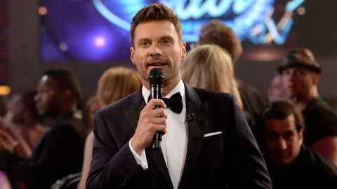 """HOLLYWOOD, CA - MAY 13:  Host Ryan Seacrest speaks during """"American Idol"""" XIV Grand Finale at Dolby Theatre on May 13, 2015 in Hollywood, California.  (Photo by Kevork Djansezian/Getty Images)"""