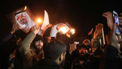 """Iranian protesters gather outside the Saudi Embassy in Tehranon January 2. Saudi Arabia said it executed """"terrorists"""" and told Iran to stay out of its internal affairs."""