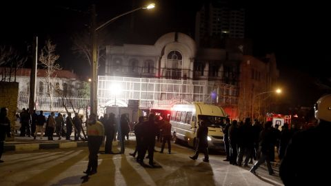 Several protesters were arrested, police officers at the embassy told CNN.