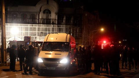 There was some damage near the back of the embassy building, witnesses and a police officer said. None of the Saudi diplomatic staff was in the embassy at the time.