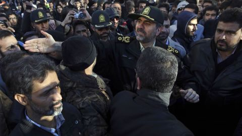 Tehran's police chief Gen. Hossein Sajedinia, center right, tries to disperse protesters in front of Saudi Arabia's Embassy in Tehran on January 3.