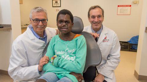 Saline after her surgery with Dr. Leon Klempner and Dr. Alexender Dagum.