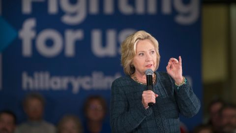 Democratic presidential candidate Hillary Clinton speaks to guests during a rally at Iowa Western Community College on January 5, 2016 in Council Bluffs, Iowa.