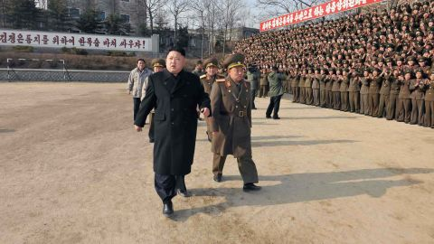 """This undated picture released from North Korea's official Korean Central News Agency (KCNA) on January 12, 2014 shows North Korean leader Kim Jong-Un (front L) inspecting the command of Korean People's Army (KPA) Unit 534.    AFP PHOTO / KCNA via KNS    REPUBLIC OF KOREA OUT   THIS PICTURE WAS MADE AVAILABLE BY A THIRD PARTY. AFP CAN NOT INDEPENDENTLY VERIFY THE AUTHENTICITY, LOCATION, DATE AND CONTENT OF THIS IMAGE. THIS PHOTO IS DISTRIBUTED EXACTLY AS RECEIVED BY AFP    ---EDITORS NOTE--- RESTRICTED TO EDITORIAL USE - MANDATORY CREDIT """"AFP PHOTO / KCNA VIA KNS"""" - NO MARKETING NO ADVERTISING CAMPAIGNS - DISTRIBUTED AS A SERVICE TO CLIENTS        (Photo credit should read KNS/AFP/Getty Images)"""