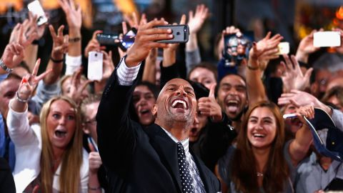 """Sharing moments with his fans """"will always be the best part of my job,"""" said Johnson, here at a premiere for 2014's """"Hercules."""""""