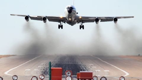 """The four-engine WC-135 is used to fly through airspace to detect the residue of nuclear blasts. """"The aircraft is equipped with external flow-through devices to collect particulates on filter paper and a compressor system for whole air samples collected in holding spheres,"""" the Air Force says. It has two of these jets in the active force."""