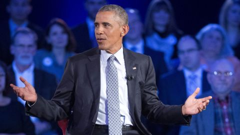 Obama answers questions during the televised event. The President said that he would be happy to meet with representatives of the National Rifle Association, which declined to take part in the town-hall meeting even though other gun-rights advocates did attend.
