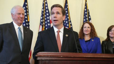 Rep. Mike Thompson (D-CA), Rep. Bob Dold (R-IL), Rep. Elizabeth Esty (D-CT) and Rep. Kathleen Rice (D-NY) hold a news conference about new legislation to enforce background checks for gun purchases in the Canon House Office Building on Capitol Hill March 4, 2015 in Washington, D.C.