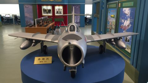 Exhibits at the North Korean Science and Technology Center include this fighter jet.