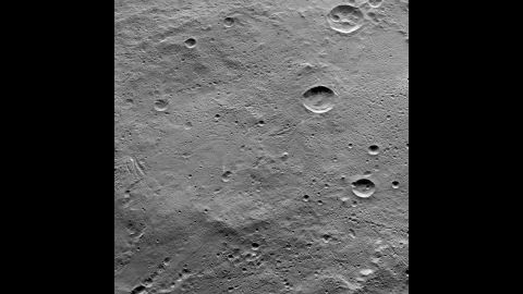 Ceres has several craters and linear troughs. In this image taken by NASA's Dawn spacecraft on October 14, 2015, the large crater Lono can be seen near the top right of the photo. The crater below it is called Besua.