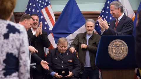 Mayor Bill de Blasio awards the Key to the City to former FDNY firefighter and long-time Zadroga advocate Ray Pfeifer during a Zadroga Act celebration at City Hall on Saturday, January 9. The event was attended by Mr. Pfeifer's family, comedian Jon Stewart, FDNY Commissioner Daniel Nigro, Congressmen Jerrold Nadler and Peter King, Manhattan Borough President Gale Brewer and other invited guests.