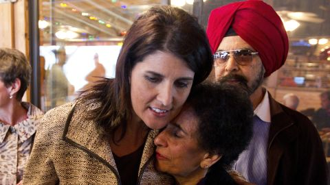 Haley shares a hug with her mom, Raj Randhawa, after speaking to voters at Hudson's Smokehouse on November 3, 2010. Haley became the first Indian-American governor of South Carolina when she beat incumbent Democrat Vincent Sheheen.
