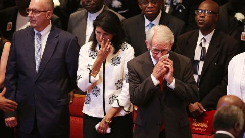 Haley and Charleston Mayor Joseph Riley, right, attend the funeral of Ethel Lance, 70, who was one of nine victims of the mass shooting.