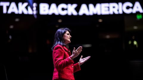 Haley speaks to the crowd September 18, 2015, in Greenville as a moderator of the Heritage Action Presidential Candidate Forum.
