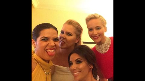 """From left, actresses America Ferrera, Amy Schumer, Eva Longoria and Jennifer Lawrence take a selfie together at the Golden Globe Awards. """"Really good light back here in the presenters green room,"""" <a href=""""https://www.instagram.com/p/BAYXRsQyahl/?taken-by=americaferrera"""" target=""""_blank"""" target=""""_blank"""">Ferrera said on Instagram</a> on Sunday, January 10."""