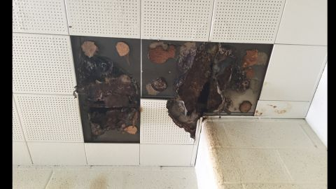Photos taken at three Detroit schools show deterioration at school facilities. Teachers have protested the conditions by calling in sick in large groups.