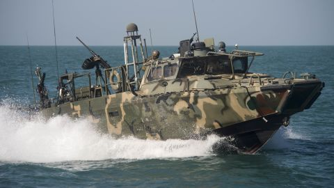 151026-N-CJ186-098 ARABIAN GULF (Oct. 26 2015) Riverine Command Boat (RCB) 802, assigned to Combined Task Group (CTG) 56.7, conducts patrol operations in the Arabian Gulf. RCBs were originally used in shallow-water and tropic environments, now joining operation in the U.S. 5th Fleet area of responsibility, these boats have been repurposed for open-sea patrol.  CTG 56.7 conducts maritime security operations to ensure freedom of movement for strategic shipping and Naval vessels operating in the inshore and coastal areas in the 5th Fleet area of responsibility. (U.S. Navy photo by Mass Communication Specialist 2nd Class Torrey W. Lee/Released)