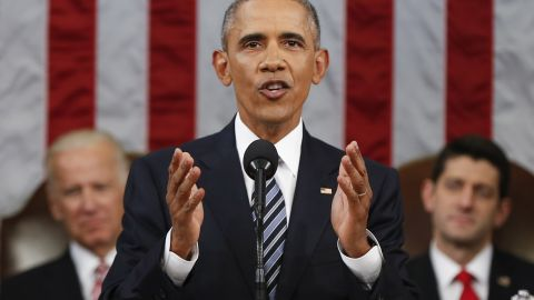 WASHINGTON, DC - JANUARY 12:  President Barack Obama delivers his State of the Union address before a joint session of Congress on Capitol Hill January 12, 2016 in Washington, D.C.  In his final State of the Union, President Obama reflected on the past seven years in office and spoke on topics including climate change, gun control, immigration and income inequality. (Photo by Evan Vucci/Pool/Getty Images)